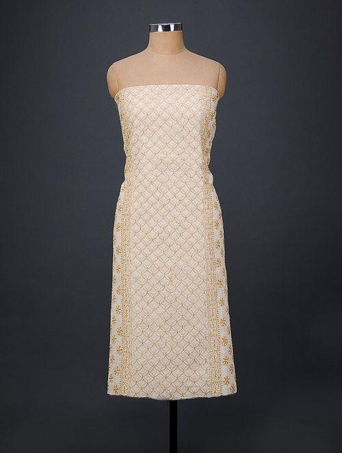 Ivory-Yellow Chikankari Chanderi Kurta Fabric