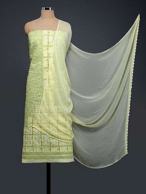 Yellow-Green Chikankari and Applique-work Cotton Blend Suit Fabric with Chiffon Dupatta
