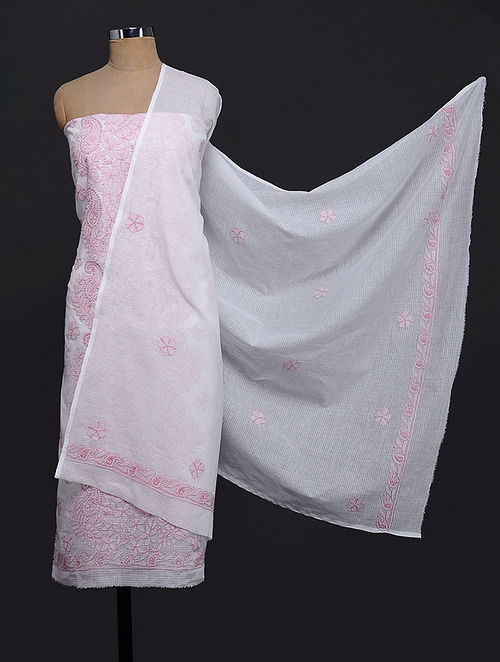Ivory-Pink Chikankari Kota Doria Kurta Fabric with Dupatta