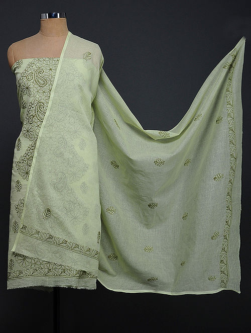 Green Chikankari Kota Doria Kurta Fabric with Dupatta