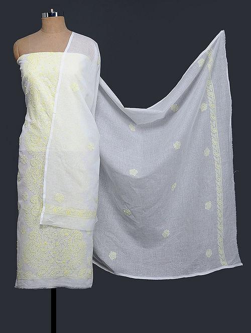 Ivory-Yellow Chikankari Kota Doria Kurta Fabric with Dupatta