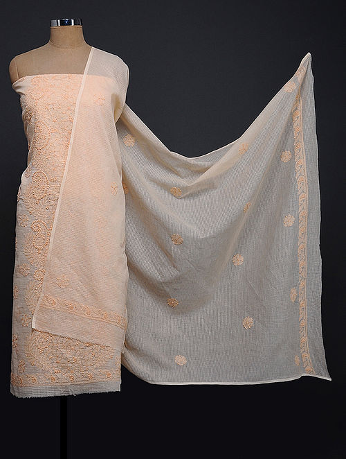 Peach Chikankari Kota Doria Kurta Fabric with Dupatta