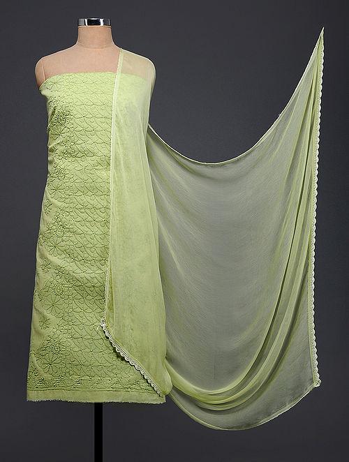 Green Chikankari Cotton Blend Suit Fabric with Chiffon Dupatta