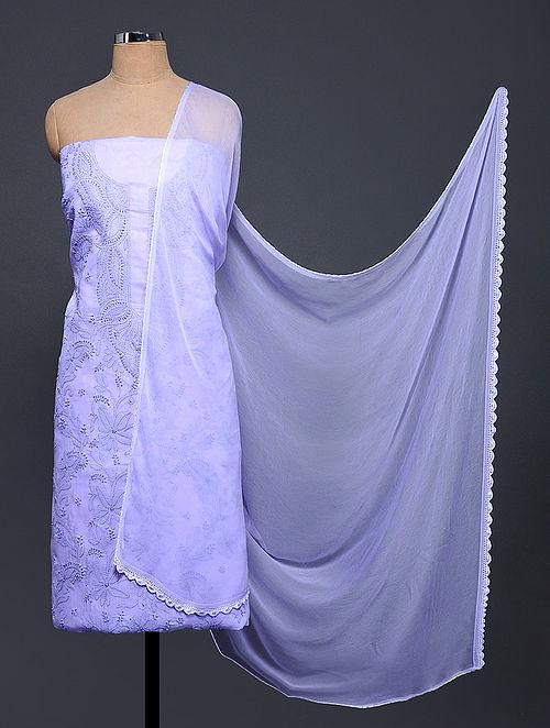 Purple Chikankari Cotton Blend Suit Fabric with Chiffon Dupatta