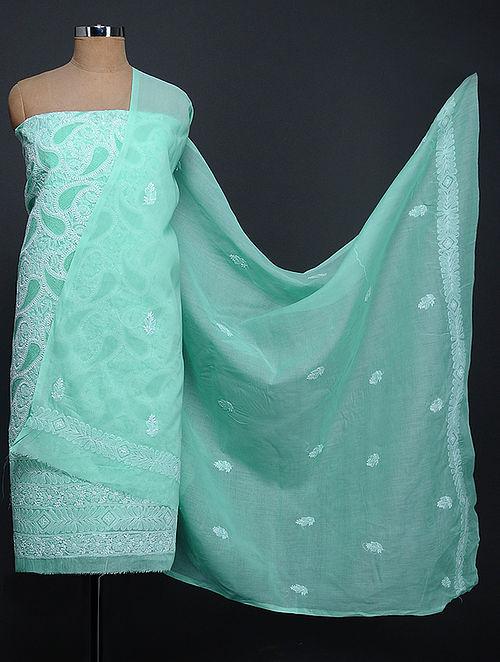 Green-Ivory Chikankari Cotton Blend Kurta Fabric with Dupatta