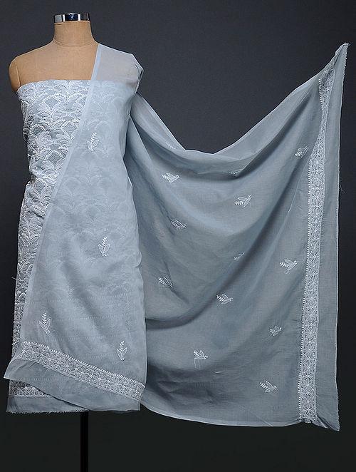 Grey-Ivory Chikankari Cotton Blend Kurta Fabric with Dupatta