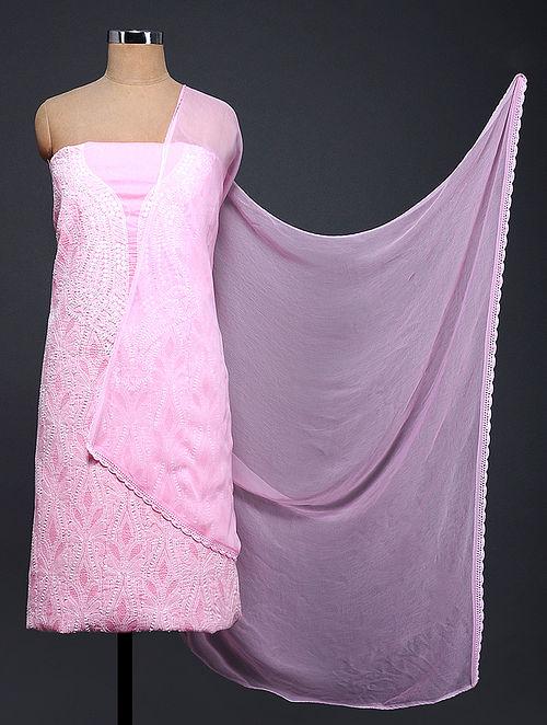 Pink-Ivory Chikankari Cotton Blend Suit Fabric with Chiffon Dupatta