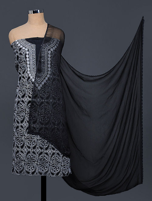 Black-Ivory Chikankari Cotton Blend Suit Fabric with Chiffon Dupatta