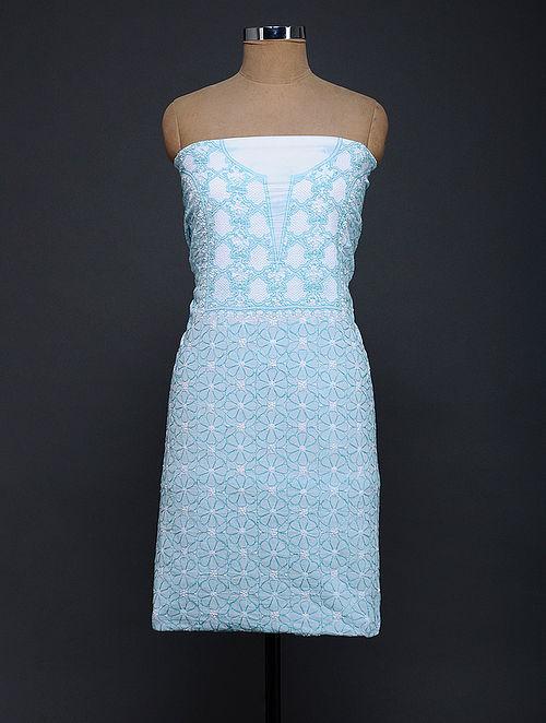 Ivory-Turquoise Chikankari Cotton Kurta Fabric