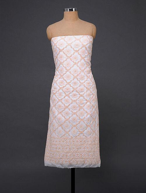 Ivory-Peach Chikankari Cotton Kurta Fabric