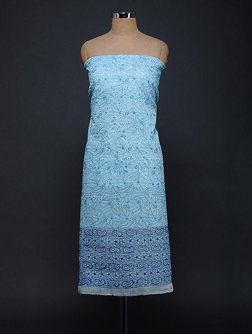 Blue Chikankari Kota Doria Kurta Fabric