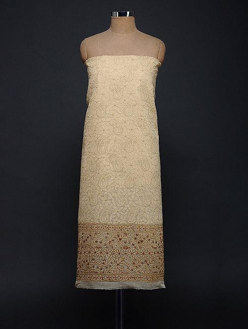 Beige-Ivory Chikankari Kota Doria Kurta Fabric