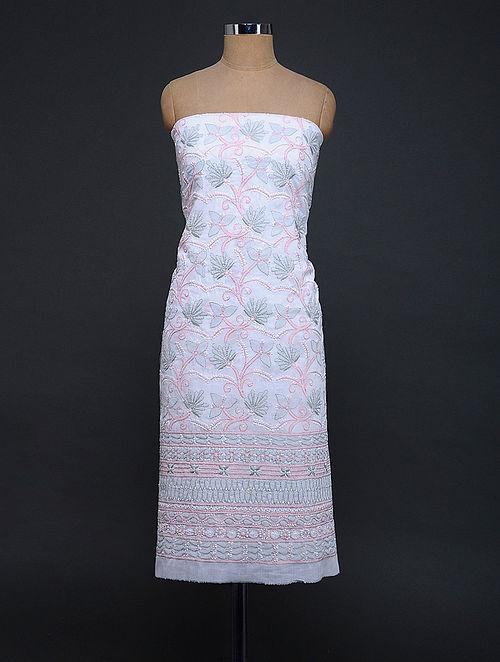 Ivory-Grey Chikankari Cotton Blend Kurta Fabric