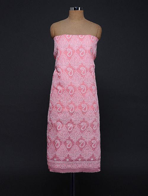 Pink Chikankari Cotton Blend Kurta Fabric