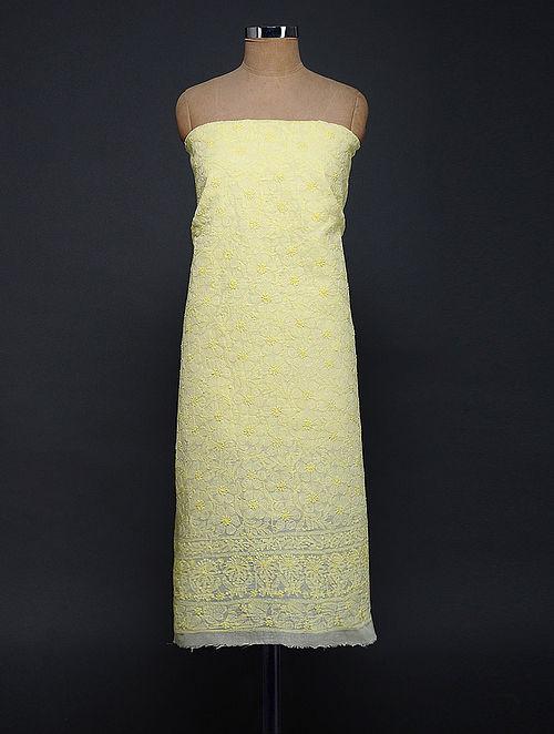 Yellow Chikankari Cotton Blend Kurta Fabric