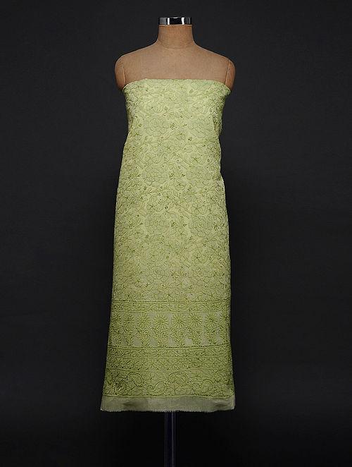 Green Chikankari Cotton Blend Kurta Fabric
