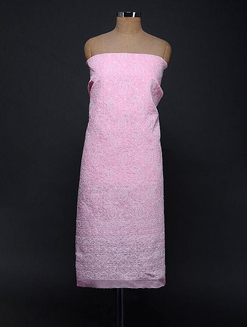 Pink-Ivory Chikankari Cotton Blend Kurta Fabric