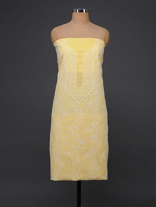 Yellow-Ivory Chikankari Cotton Blend Kurta Fabric