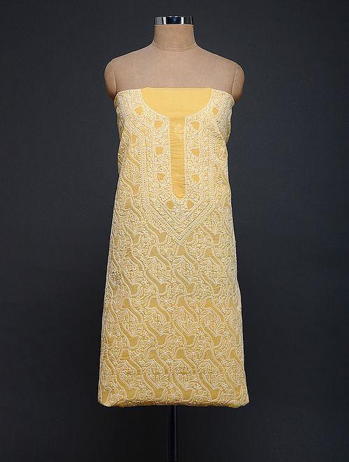 Yellow-Ivory Chikankari Cotton Blend Kurta Fabric
