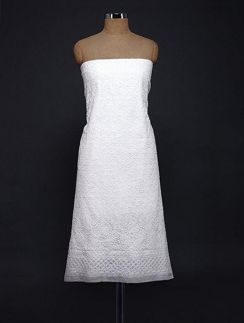 Ivory Chikankari Cotton Kurta Fabric