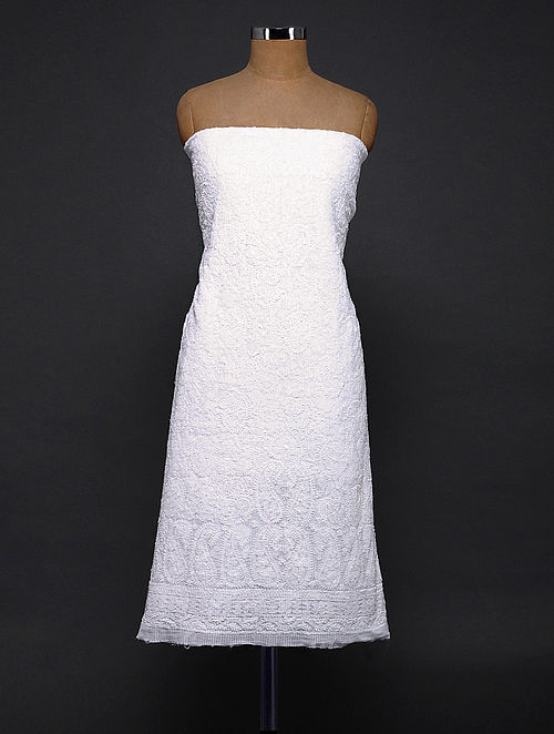 Ivory Chikankari Cotton Kurta Fabric
