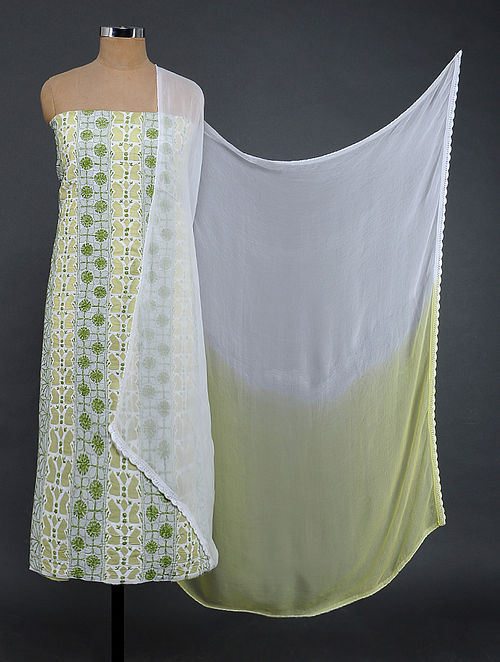 Ivory-Green Chikankari and Applique-work Cotton Blend Suit Fabric with Chiffon Dupatta