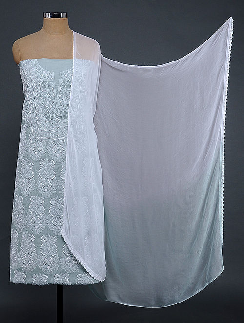 Grey-Ivory Chikankari Cotton Blend Suit Fabric with Chiffon Dupatta