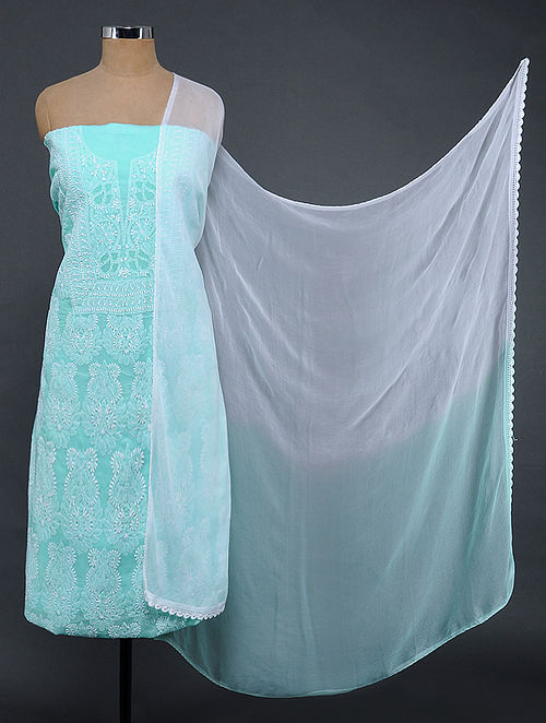 Sea Green-Ivory Chikankari Cotton Blend Suit Fabric with Chiffon Dupatta