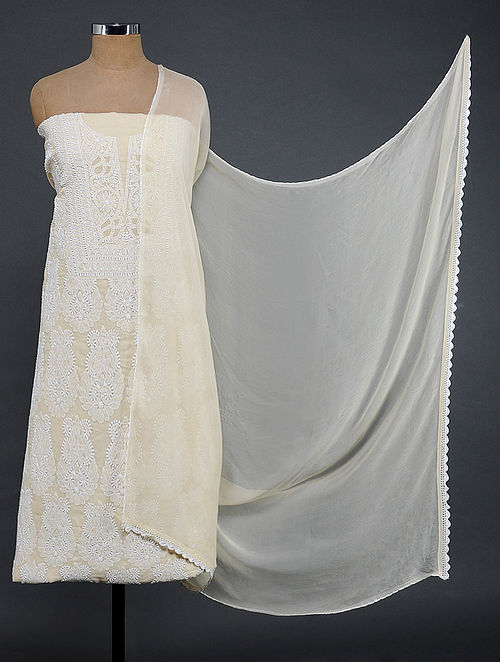 Beige-Ivory Chikankari Cotton Blend Suit Fabric with Chiffon Dupatta