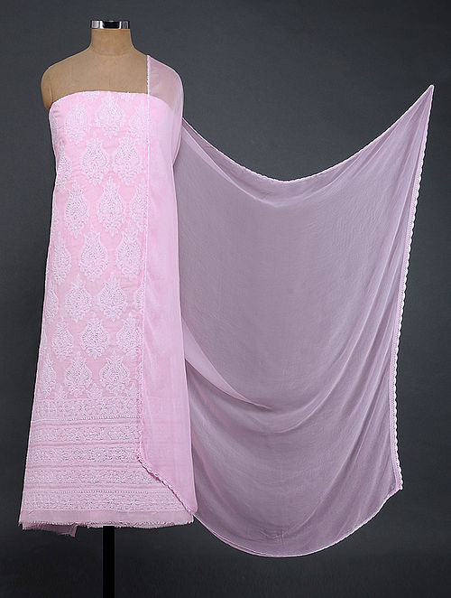 Pink-Ivory Chikankari Cotton Blend Suit Fabric with Chiffon Dupatta