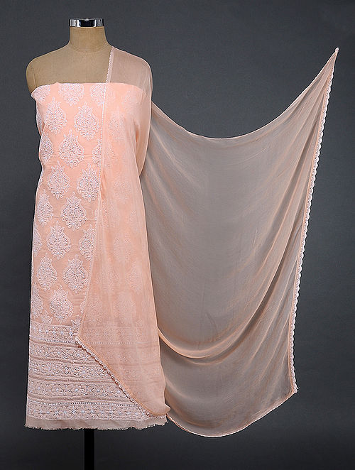 Peach-Ivory Chikankari Cotton Blend Suit Fabric with Chiffon Dupatta