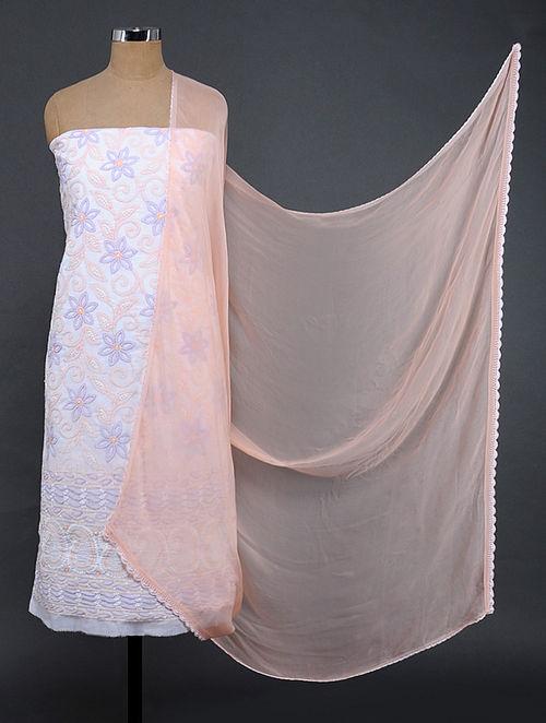 Ivory-Peach Chikankari Cotton Blend Suit Fabric