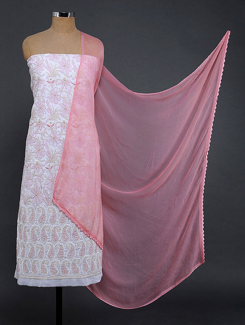 Ivory-Pink Chikankari Cotton Blend Suit Fabric
