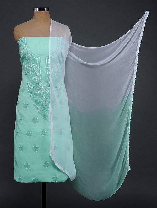 Green-Ivory Chikankari Cotton Blend Suit Fabric