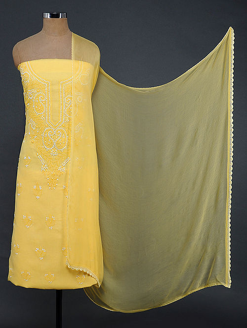 Yellow-Ivory Chikankari Cotton Blend Suit Fabric