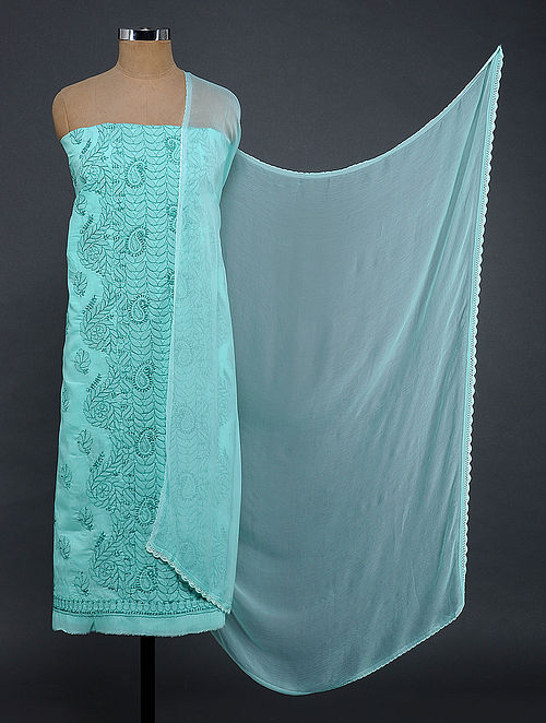 Sea Green Chikankari Cotton Blend Suit Fabric