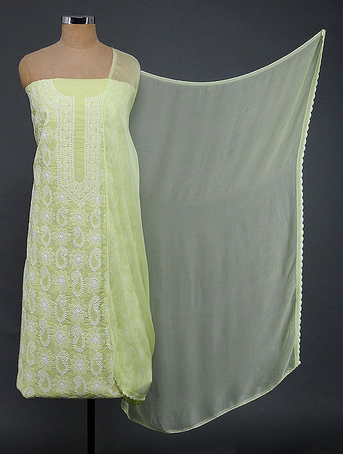 Green-Ivory Chikankari Cotton Blend Suit Fabric
