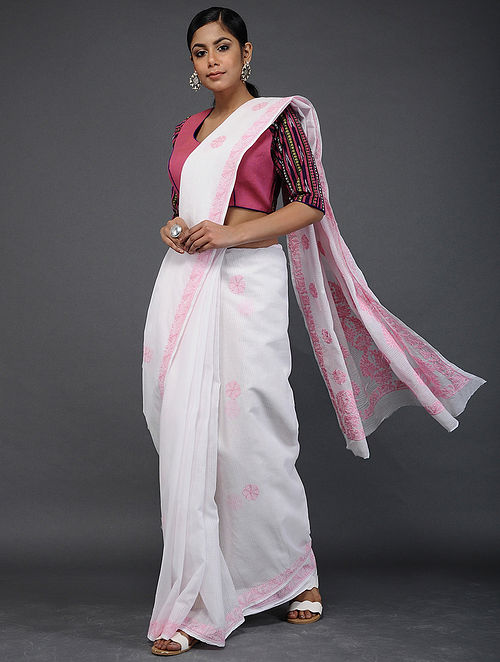 Ivory-Pink Chikankari Kota Doria Saree