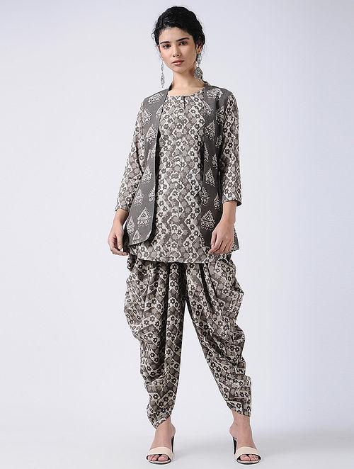 8e49be6f0a1 Brown Dabu-printed Cotton Kurta with Dhoti Pants and Jacket (Set of 3)