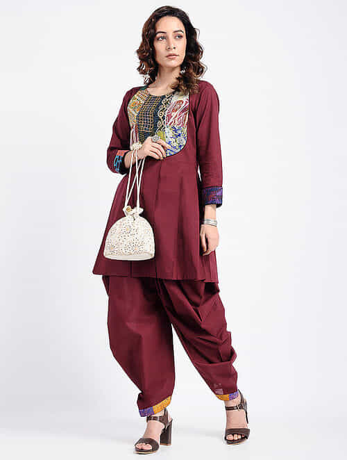 94fa29bd3a4 Buy Maroon Kantha-Embroidered Cotton Tunic with Dhoti Pants (Set ...
