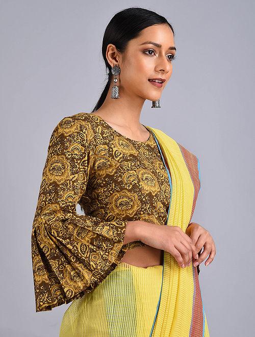 Brown-Yellow Printed Cotton Blouse