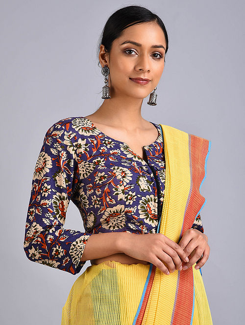 Blue-Ivory Printed Cotton Blouse