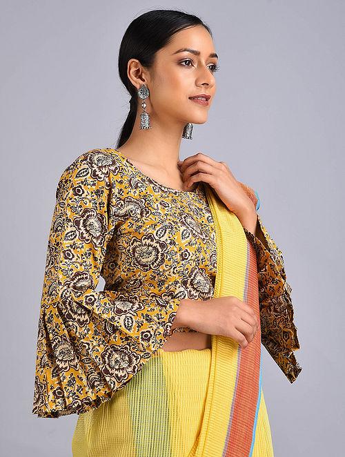 Yellow-Brown Printed Cotton Blouse