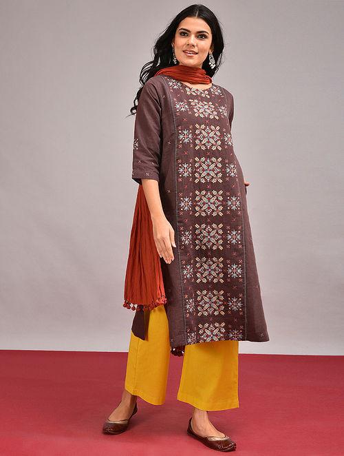 MATURA - Brown Embroidered Cotton Linen Kurta