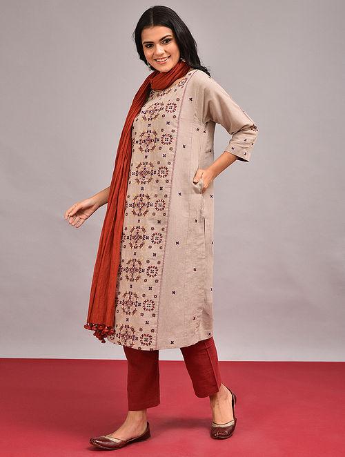 LABHANI - Beige Embroidered Cotton Linen Kurta
