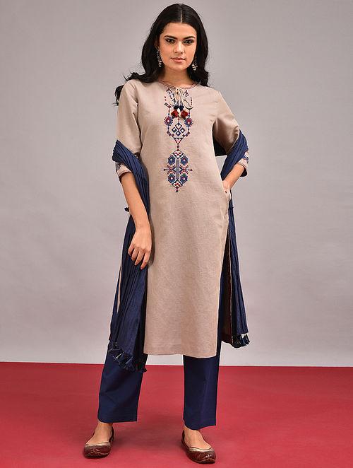 CHARAN - Beige Embroidered Cotton Linen Kurta with Tassels