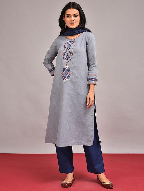 DHADIA - Blue Embroidered Cotton Linen Kurta
