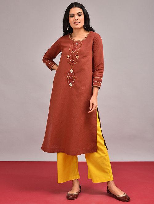 DHALIAS - Rust Embroidered Cotton Linen Kurta