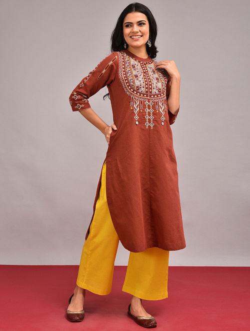 PANWAR - Rust Embroidered Cotton Linen Kurta
