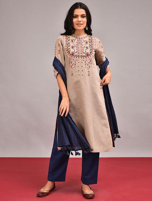 VADITYA - Beige Embroidered Cotton Linen Kurta